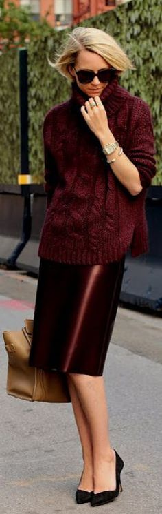 Trend Alert--Bordeaux_ I absolutely love this color.  So deep and rich....like the outfit too!