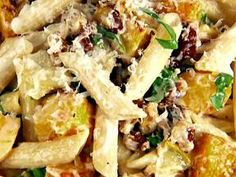 Penne with butternut squash and goat cheese. You had me at goat cheese...