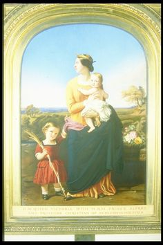 Queen Victoria, full-length, standing in a landscape, wearing medieval costume; in her arms she holds Princess Helena; Prince Alfred stands on the left, wearing a red dress & holding a rush with an inscribed ribbon in his right hand
