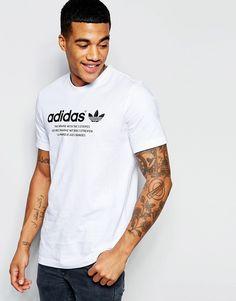 De sejeste adidas Originals T-Shirt With Chest Logo AJ7235 - White adidas Originals Printed til Herrer til hverdag og fest