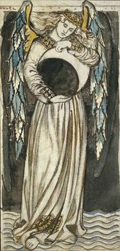 Angel holding a Waning Moon    by William Morris (1834-1896)