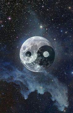Yin Yang Moon Art Print by kittybitty Ying Yang Wallpaper, Galaxy Wallpaper, Nature Wallpaper, Wallpaper Backgrounds, Iphone Wallpaper, Arte Yin Yang, Ying Y Yang, Yin Yang Art, Yin And Yang