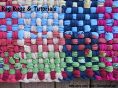 Cute, colorful t-shirt rug. Learn how to make rag rugs like the one pictured above. Use whatever t-shirts or other knit garments/fabric you have lying around. Very easy to make. Tutorial includes instructions on the rag rug loom. Tutorial at www.etsy.com/shop/ChunkyRagRugs.