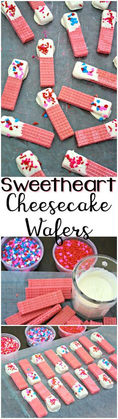 A real sweet treat for your Valentine, Sweetheart Cheesecake Wafers are here to dip into their heart for you! | #valentine #valentinesday #sweetheart #recipe