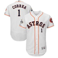 aa210f2c847 Men s Houston Astros Carlos Correa Majestic White 2017 World Series  Champions Flex Base Player Jersey