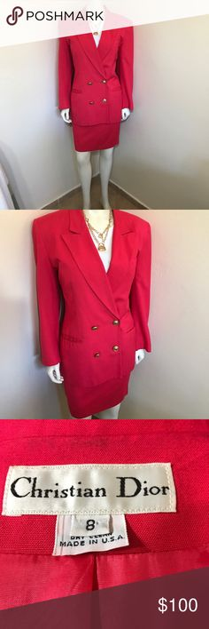 Christian Dior 80s Barbie Pink Power Skirt Suit M Label-Christian Dior Style- Authentic 80s Vintage Double Breasted Barbie Hot Pink Power Skirt Suit. Gold CD buttons, Skirt has light pleating, pockets! Fully lined. Shoulder Pads!