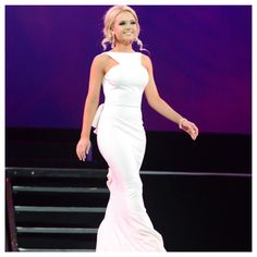 Samantha Nicole Rhoden, Miss Tulare County, rocking the stage in her Jovani gown from Mia Bella at the Miss California America pageant.