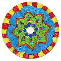 Art Projects for Kids: CD Mandala 4th or 5th grade: Instead of drawing directly on the CD, have students trace it and make a template on drawing paper, then cut that out and glue it to the printed side of the CD, leaving the silver side to show.