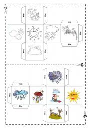 English Worksheets: Weather DICE - FULLY EDITABLE
