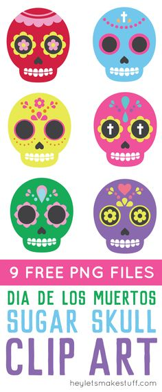Celebrate Dia De Los Muertos with these these brightly colored sugar skull clip art files! Nine PNG designs for all of your Day of the Dead projects.