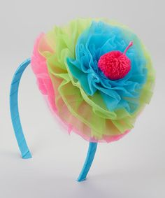 Take a look at this Blue & Pink Cupcake Bow Headband by Mud Pie on #zulily today!
