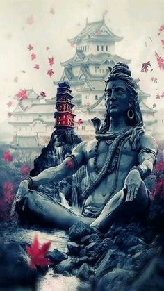 A stunning image of a tranquil Lord Shiva- the burst of colour in the blossoms/leaves gives it a compassionate aura! Shiva Shakti, Mahakal Shiva, Shiva Statue, Lord Shiva Hd Wallpaper, Shiva Angry, Shiva Photos, Lord Shiva Hd Images, Lord Shiva Pics, Lord Shiva Family