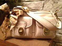 COACH Cream Brass Vachetta Leather Satchel Handbag Shoulder Bag with Scarf 12868 #Coach #ShoulderBag
