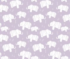 Origami Elephant - Lavender by Andrea Lauren  fabric by andrea_lauren on Spoonflower - custom fabric