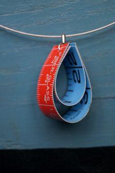 Vintage necklace pendant tape measure, blue, red, pendant