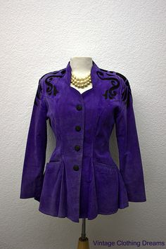 Purple Suede Jacket with Black Scallop Trim by Chia Princess Waistline Size Small Vintage Steampunk Coat Suede Coat, Suede Jacket, 80s Fashion, Timeless Fashion, Vintage Fashion, Steampunk Coat, Leather Store, Vintage Clothing For Sale, Purple Suede