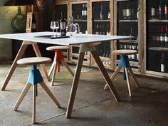 Table Butch - The Wild Bunch / 129 x 75 cm Blanc / Pieds bois naturel - Magis