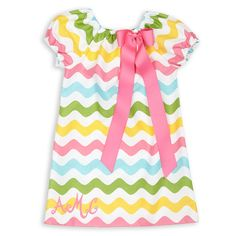 Girls Multi Color Wave Charlotte Dress – Lolly Wolly Doodle