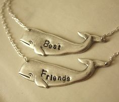 """Best Friends"" Silver Whale Necklace Set"