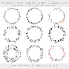 Wreath clip art - hand drawn wreath clip art digital handdrawn floral wedding clipart pink shabby romantic branches leaf woodland chic fauna - Notes and Notebooks - Blumenkranz Embroidery Patterns, Hand Embroidery, Wreath Drawing, Black And White Drawing, Black White, Clip Art, Flower Doodles, Bullet Journal Inspiration, Shabby