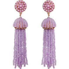 Humble Chic NY Soiree Tassel Earrings ($38) ❤ liked on Polyvore featuring jewelry, earrings, lavender, beaded fringe earrings, dangle pearl earrings, long stud earrings, pearl stud earrings and dangle earrings