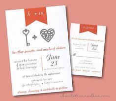 Key to My Love Wedding Invitation
