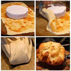 Queijo Brie, geléia e massa folhada