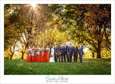 Emily + Pete: Wedding Photographers Spirit. Spontaneity. Harmony. www.emily-pete.com Lawrence. Kansas City. Beyond.  Fall Kansas City Wedding Orange Bridesmaids Dresses