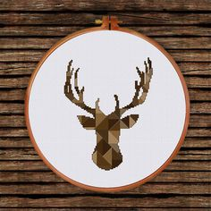Geometric Deer Head pattern modern cross stitch by ThuHaDesign