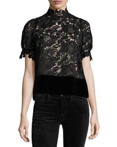 74eedceff4a66 21 Farida Mock-Neck Short-Sleeve Blouse Black Blouse