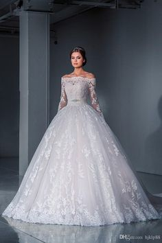 If were to do it all over again....gorgeous. Luxurious Ball Gown Lace Wedding Dresses 2016 Off the Shoulder Long Sleeves Sheer Illusion Chapel Train Tulle Appliques Beads Bridal Gowns2016 Spring Summer,Reference Images,Lace on hjklp88's Store from DHgate.com, get worldwide delivery and buyer protection service.