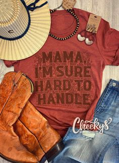 Adorable rust colored tee with an even better saying!! How cute would this be with a beaded necklace some cute jeand with boots!! Perfect outfit! #cheekys #boutique #cheekysboutique #hardtohandle Real Country Girls, Cow Print, Bubblegum Pink, Rust Color, Us Images, Girls Be Like, Beaded Necklace, Handle, Unisex