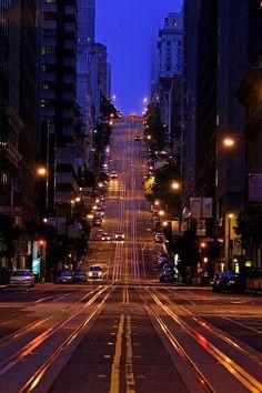 California Street, San Francisco by Kevin D. Haley by San Francisco Feelings Night Aesthetic, City Aesthetic, Travel Aesthetic, City Vibe, City Wallpaper, San Francisco California, San Francisco At Night, California Usa, San Francisco City
