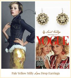Our Pale Yellow Milly Love Drops made their way in @voguemagazine! We are so excited/honored/amazed by this wonderful news! Order your own pair now. @saintvintage