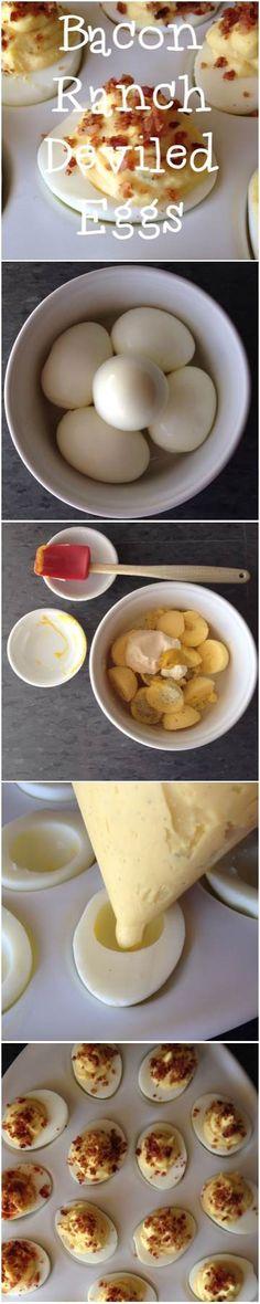Bacon Ranch Deviled Eggs #recipe #holidayentertaining #deviledeggsday
