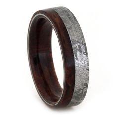 Meteorite Wedding Band Mens or Womens Wood Ring by jewelrybyjohan