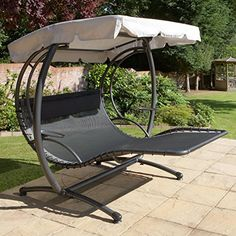 Jarder Two Seater Reclined Swinging Bed   This two person swing seat is the ultimate in relaxation.  It has a modern design, not found in many swing seats, which will compliment any outdoor area.  It has a padded head rest, reclined shape and an elevated foot rest so you can get really comfortable.  It has a fabric canopy can protect you from the midday sun, and a sturdy steel frame.  The texteline fabric is weather resistant and a simple wipe will restore it to being good as new…