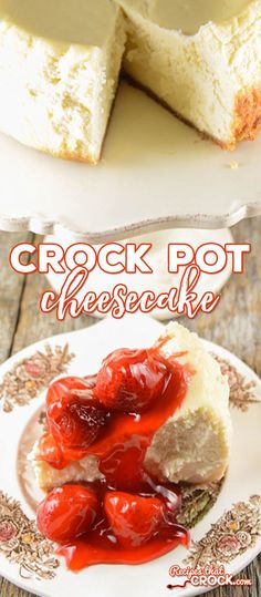 Homemade Crock Pot Cheesecake: Are you looking for a great homemade cheesecake recipe but don't want to purchase a special pan? Our Crock Pot Cheesecake is the perfect homemade recipe for cheesecake that you can make right in your slow cooker- no extra pan needed!