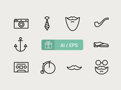 Free PSD Goodies and Mockups for Designers: FREE HIPSTER ICONS BY ICONS MIND