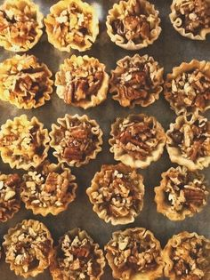 1 tbsp melted butter. 1 large egg. 4 tsp brown sugar. 2 tbsp honey. 1/4 tsp vanilla. 1/2 cup  chopped pecans. 15 Mini Phyllo Shells.  Package of chocolate morsels.  Directions: Heat oven to 350 degrees. In a mixing bowl, combine all ingredients - except pecans. Mix well. Stir in pecans. Arrange shells on a baking sheet and place one or two chocolate morsels in the shells. Fill with one heaping teaspoon of pecan mixture. Bake for 10-15 minutes. Let cool before you eat.