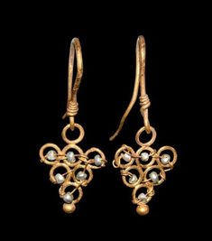 Greek Gold Earrings with Pearl Seed Beads, 3rd Century BC