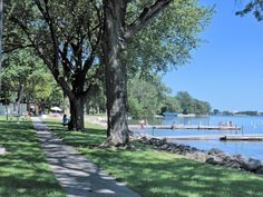 Centennial Park waterfront, beach area and walkway on North side of Lake Okabena in Worthington, MN