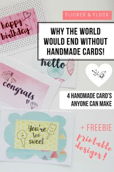 Free printable designs and tutorial for 4 greeting cards that anyone can…