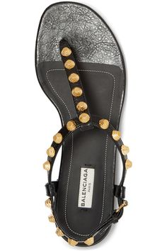 Balenciaga - Studded Glossed-leather Sandals - Black - IT