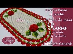 PAP Caminho de mesa de crochê Flor Rosa de barbante por JNY Crochê - YouTube