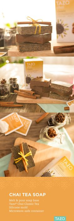 We love this fun and simple way to celebrate chai season! Simply cut the desired amount of 'melt & pour' soap base, microwave for 1-2 minutes until liquified, add 3-5 bags of Tazo Chai, pour into a silicone mold and cool in the freezer for about an hour.
