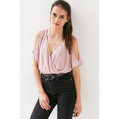 Ecote Zooey Surplice Cold-Shoulder Top ($39) ❤ liked on Polyvore featuring tops, cut-out tops, drapey top, striped top, drape top and knit tops