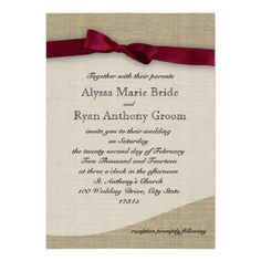 Cranberry Ribbon and Burlap Wedding Personalized Invitation