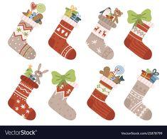 Christmas socks xmas stocking or sock with vector image on VectorStock Winter Stockings, Christmas Stockings, Illustrations, Elves, Snowflakes, Snowman, Deer, Vector Free, Santa