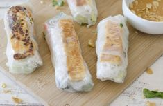 Vietnamese Tofu Spring Rolls! You will love these healthy salad rolls, served with a spicy peanut-lime dipping sauce. Vegan and easily gluten-free.